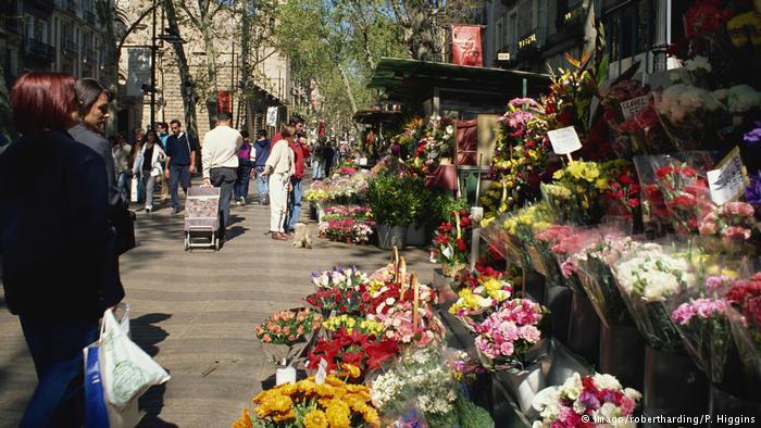 Archive photo of flower stalls on Las Ramblas