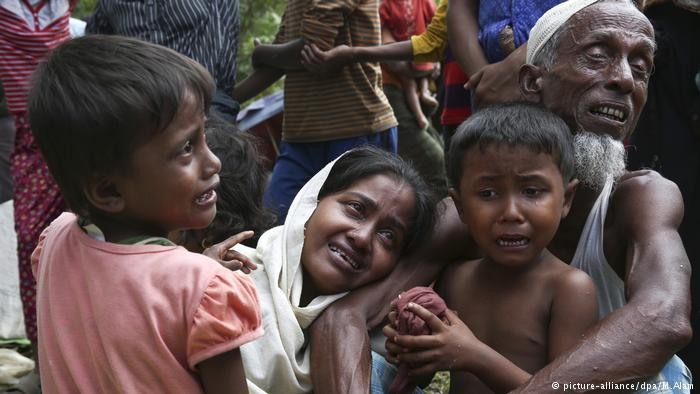 Distressed Rohingya at the border in Myanmar