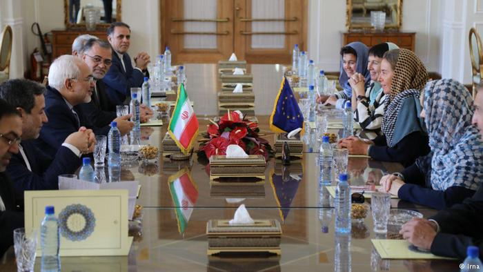 Iranian President Rouhani meets with EU foreign policy chef Federica Mogherini