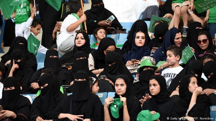 Saudi women attend a sporting event in a Riyadh stadium (photo: Getty Images/AFP/F. Nureldine)