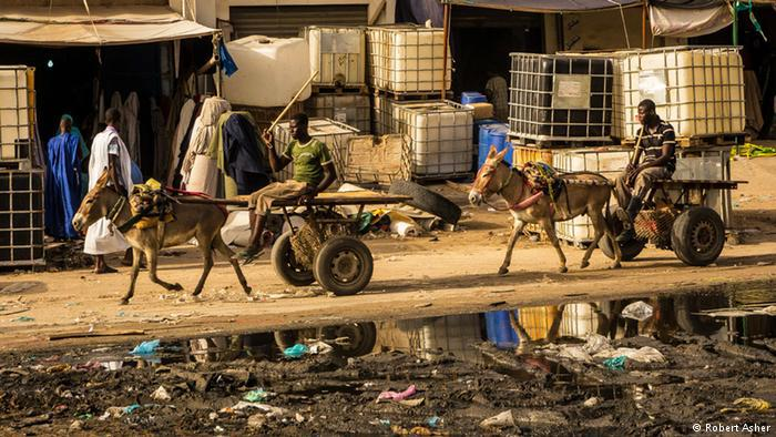 Men ride donkey carriages through a rubbish-filled street
