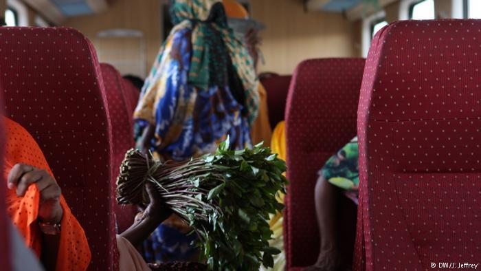 Scene inside the Ethiopian Djibouti Railway Train showing a bundle of khat leaves (photo: DW/J. Jeffrey)