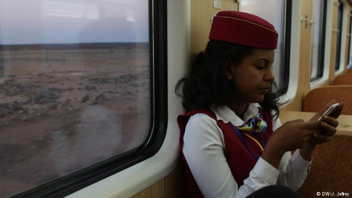 A ticket controller inside the Ethipian Djibouti Railway Train (photo: DW/J. Jeffrey)