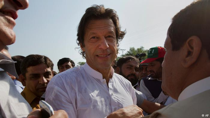 Imran Khan at a protest in Islamabad, Pakistan (photo: AP)