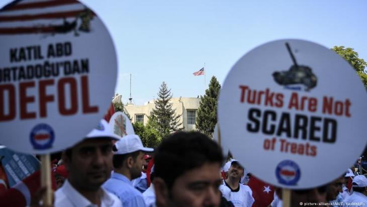 "Read ""Threats!"": members of Turkish civil servants' union - Memur Sen - protest against U.S. sanctions imposed against Turkey's interior and justice ministers"