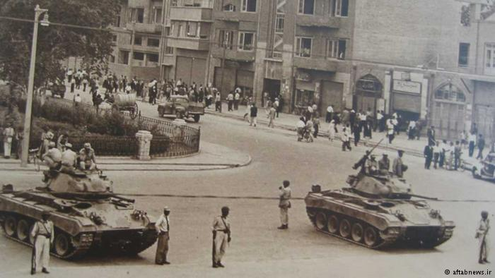 Military tanks on the streets of Tehran in 1953