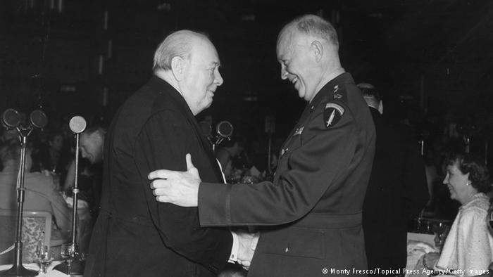 Winston Churchill and Dwight D. Eisenhower at the Grosvenor in London, 1952