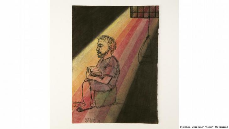 Drawing of a man in a prison cell (photo: picture-alliance/AP Photo/Y. Mohammed)