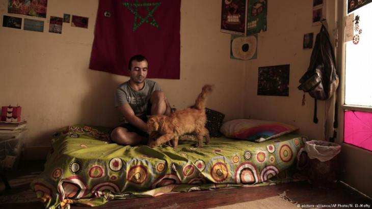 Yassin Mohammed sits with a cat in an apartment he shares, in Cairo, Egypt (photo: picture-alliance/AP Photo/N. El-Mofty)