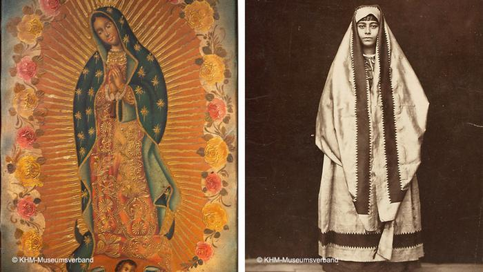 The virgin of Guadeloupe on the left shows the Virgin mary praying while wearing a veil while on the right a photograph shows a woman draped in cloth that covers her head as she looks straight at the camera (photo: KHM-Museumsverband)