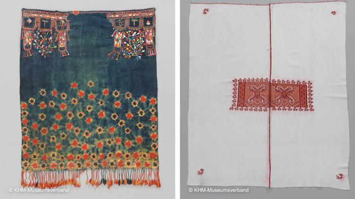 A colourful Tunisian bridal scarf and a red-and-white religious headscarf for men presented side by side (photo: KHM-Museumsverband)