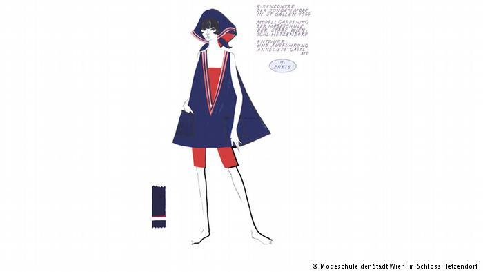 A drawing for a fashion competition shows a woman wearing a headscarf and blue tunic over red shorts (photo: Viennese Municipal Fashion School, Schloss Hetzendorf)
