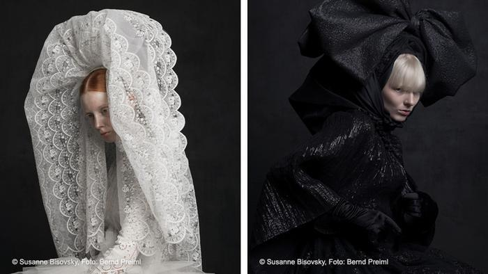 A photograph shows a woman wearing a long lacey veil, while another shows a woman in all black with a giant bow on her head (source: Susanne Bisovsky; photo: Bernd Preiml)
