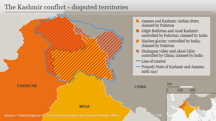 Infographic showing the Kashmir conflict's disputed territories