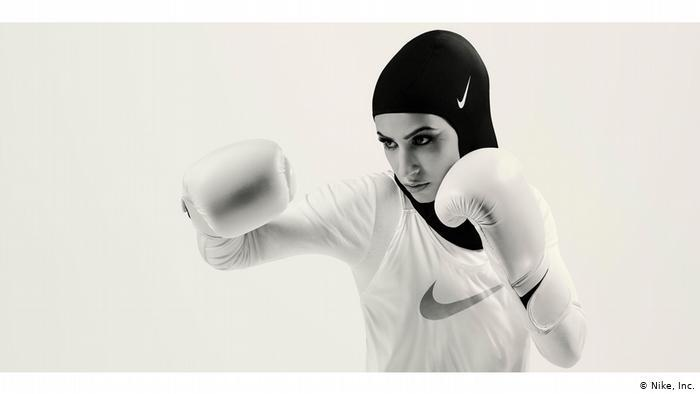 A female boxer wears a Nike full bodysuit (photo: Nike Inc.)