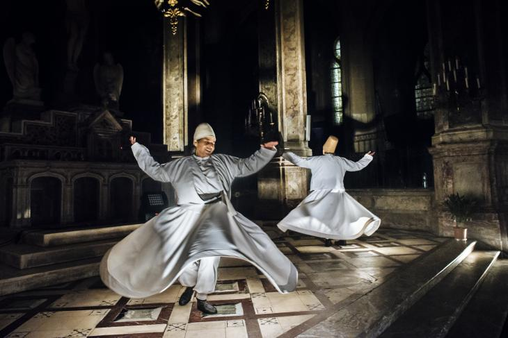 Whirling dervishes dance to the sound of Sufi songs in the Church of Saint Merry on 4 June 2017 (photo: Jan Schmidt-Whitley)