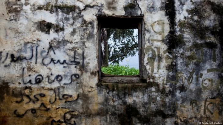 The wall of a structure in a former Syrian outpost in the Israeli-occupied Golan Heights (photo: Reuters/R. Zvulun)
