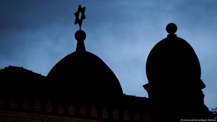 Silhouette of Halle synagogue following the attack on 10 October 2019 (photo: picture-alliance/dpa)