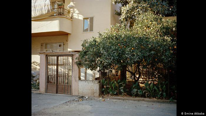 Image of a block of apartments with an orange tree in front (photo: Emine Akbaba)