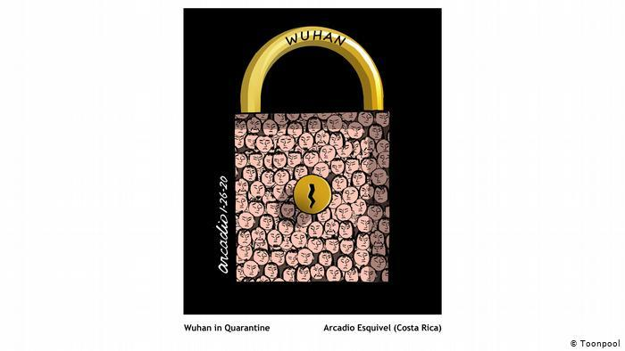 Cartoon that shows a lock with the name Wuhan and many little faces drawn on the lock (Arcadio Esquivel, Costa Rica)