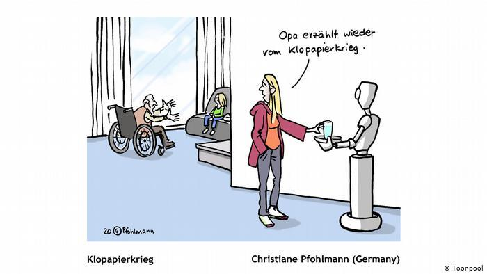 Cartoon entitled Toilet Paper War (Christiane Pohlmann, Germany)