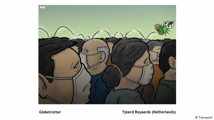 Cartoon of a crowd of heads with face masks, entitled Globetrotter (Tjeerd Royaards, the Netherlands)