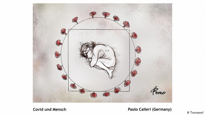 Cartoon of a person wearing a face mask and curled up in a foetal position, lying in a circle dotted with what might be viruses (Paolo Calleri, Germany)