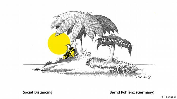 Cartoon of a man in a football strip sitting under  a palm tree on an island, entitled Social Distancing (Bernd Pohlenz, Germany)