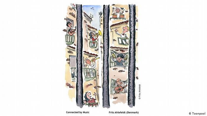 Cartoon of people on their balconies singing and playing music (Frits Ahlefeldt, Denmark)