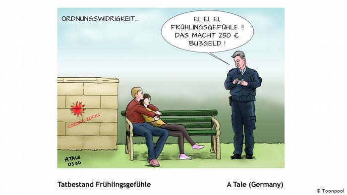 A couple being fined for contravening social distancing regulations (A. Tale, Germany)