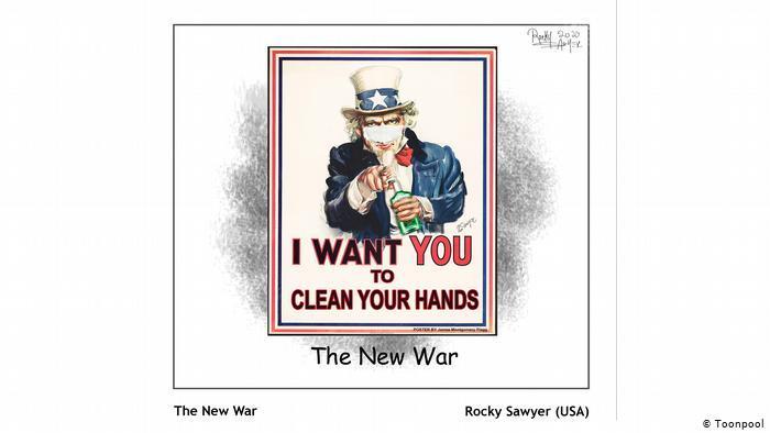 Cartoon entitled The New War (Rocky Sawyer, USA)