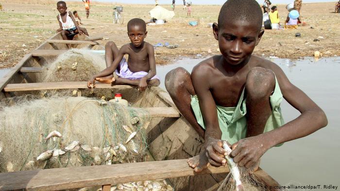 Child labour on Lake Volta, Ghana