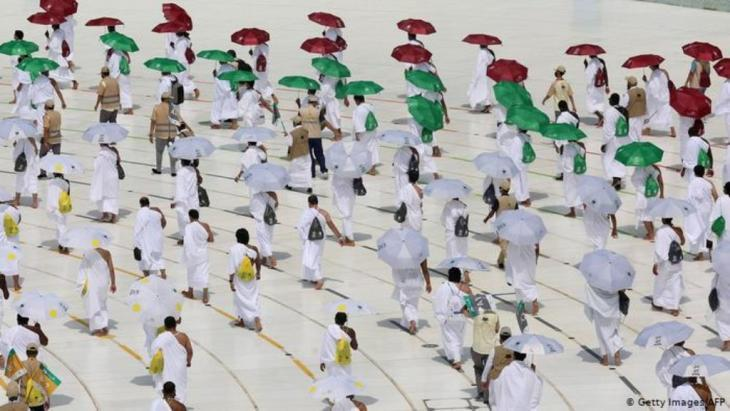 Pilgrims circumnambulating the Kaaba, Islam's holiest shrine at the centre of the Grand Mosque in Mecca (photo: Getty Images/AFP)