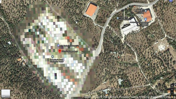 A pixelated Google Maps image of the Moria refugee camp (2020 CNES/Airbus, European Space Imaging, Maxar Technologies)
