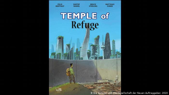 """A man with a backpack stands in front of a futuristic modern world behind a wall (photo: the authors of """"Temple of Refuge"""" and the New Patrons)"""