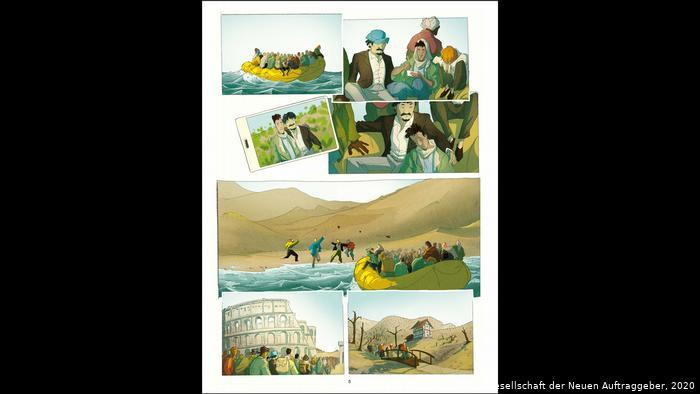 """Illustrations of people crossing fences and seas and in Rome (photo: the authors of """"Temple of Refuge"""" and the New Patrons)"""