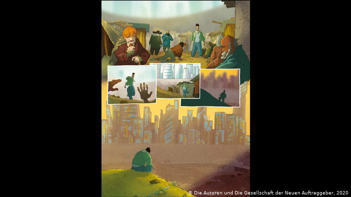 """Panels of the book depicting the difficult life at the refugee shelter (photo: the authors of """"Temple of Refuge"""" and the New Patrons)"""