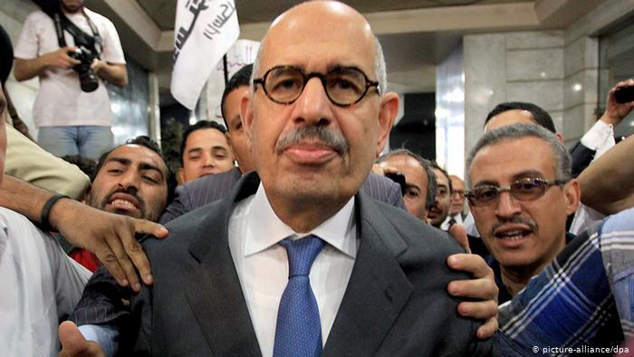 Surrounded by supporters, Mohamed ElBaradei announces a new opposition party in Egypt in 2012