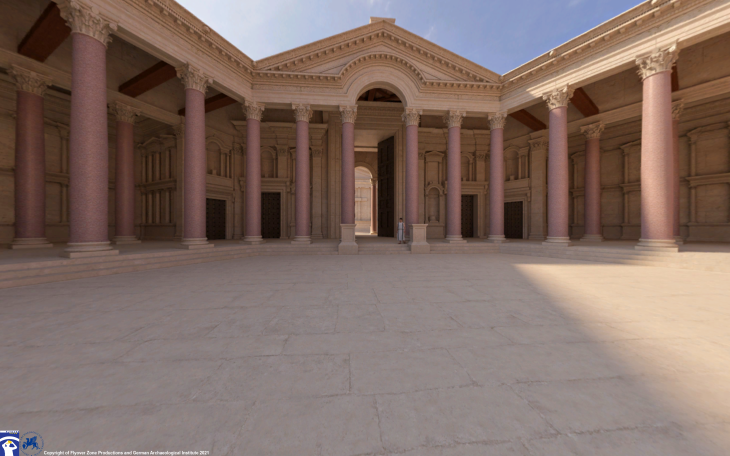 Reconstruction of the hexagonal courtyard, Temple of Jupiter, Baalbek (photo: Flyover Zone; © Flyover Zone and German Archaeological Institute)