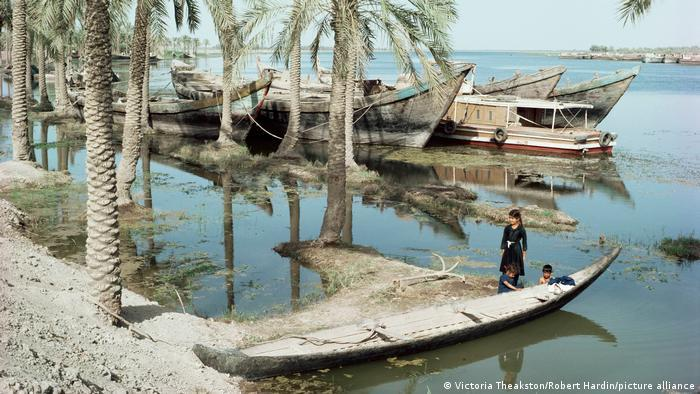 Wooden boats on the shores of the Tigris river, palm trees, three children stand next to a canoe