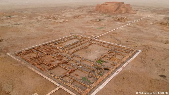 Archaelogical city of Ur from above, remains of walls in a rectangle in arid landscape