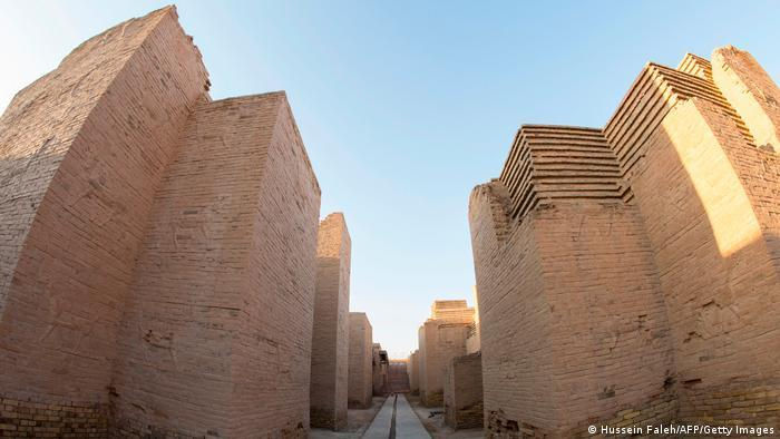 Huge light coloured walls of Babylon archaeological site