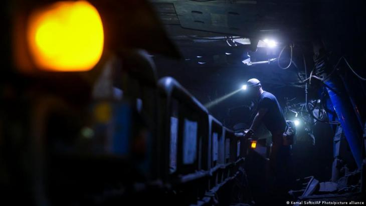 Bosnian coal miners work in an underground tunnel at a mine in Zenica, Bosnia, 29 April 2021 (photo: AP Photo/Kemal Softic)