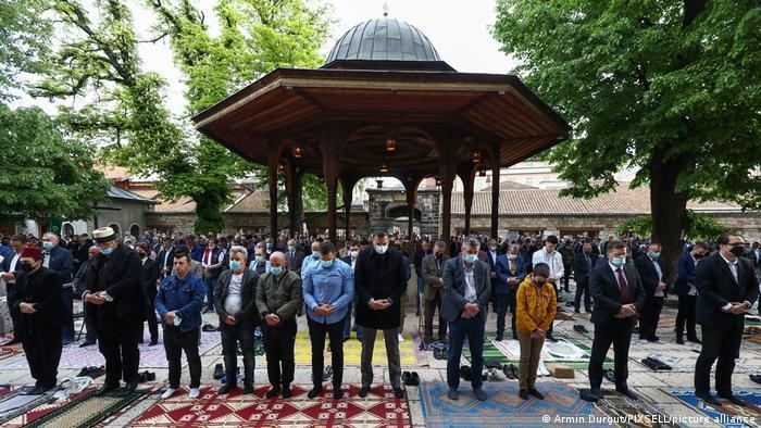 Muslims gather together to pray in Sarajevo, Bosnia & Herzegovina