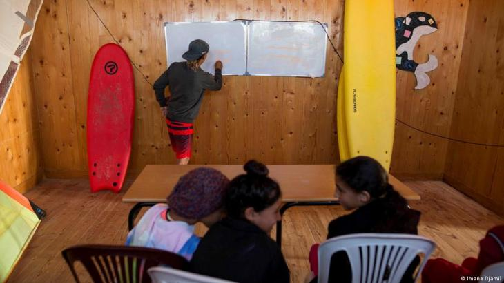 M'barek El Fakir, 24, a surf coach, teaches a theory class for students learning to surf (photo: Imane Djamil)