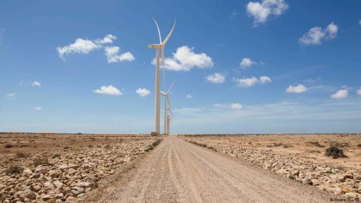 A wind turbine stands in Tarfaya (photo: Imane Djamil)