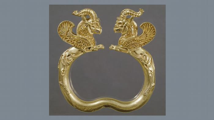 Golden bracelet from 500-330 BC as part of the Epic Iran show at the V&A Museum