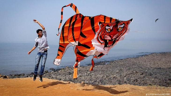 A participant flies a tiger shaped kite during the International Kite Festival in Mumbai, 8 January 2014 (photo: REUTERS/Danish Siddiqui)