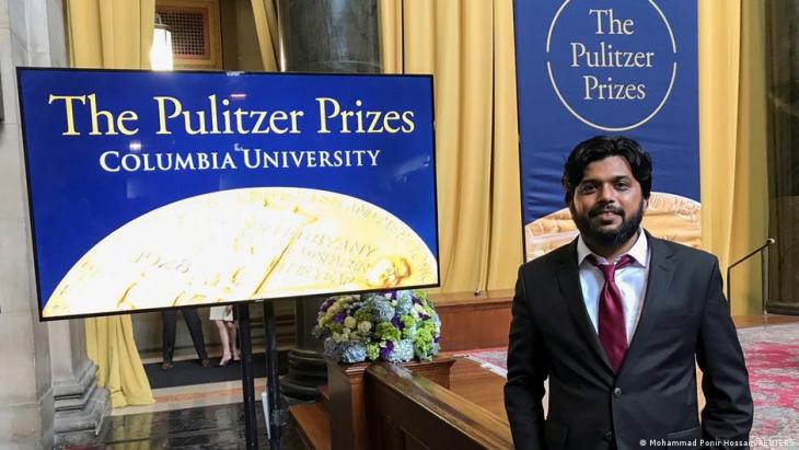 Danish Siddiqui, a Reuters photographer based in India, poses for a picture at Columbia University's Low Memorial Library during the Pulitzer Prize giving ceremony, in New York, U.S., 30 May 2018 (photo: REUTERS/Mohammad Ponir Hossain)