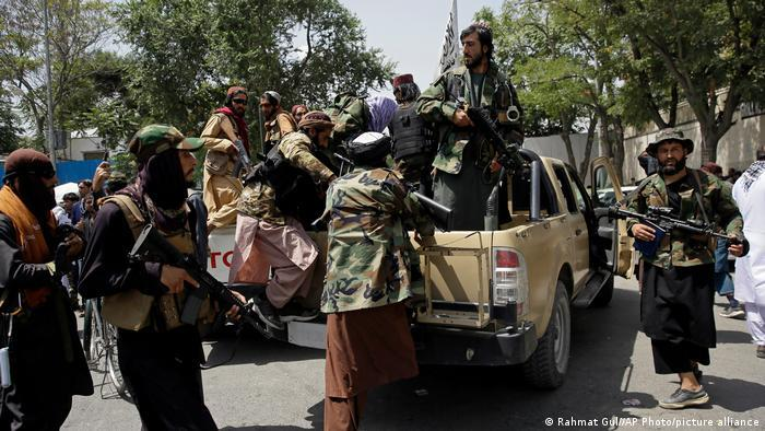 A group of Taliban and their supporters on cars in Kabul